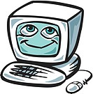 Cartoon drawing of a smiling computer