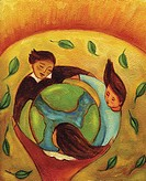 An illustration of children circling the earth