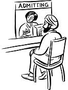 A man waiting at an admitting counter