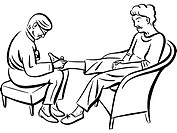 A woman giving a foot massage