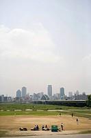 Baseball field in city