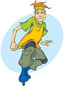 A teenage boy on rollerblader