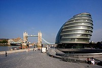 UK, London City, City Hall, Tower Bridge, Landmark, thames, river, shore, riverside, people, pedestrians, modern, arch