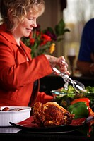 Woman making dinner
