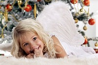 Christmas, girl, blond, angel wings, Christmas-angels, carpet, lie, background, Christian-tree, detail, portrait, series, people, child, 3-5 years, lo...