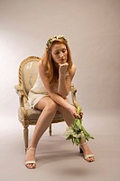 Woman, flower-bouquet, chair, sitting, sorrowfully, depresses, 20-30 years, red-hairy, series, bride, wreath, flower-wreath, flowers, dress, mini-dres...