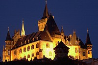 Germany, Saxony-Anhalt, Wernigerode, palace, evening, illuminates,