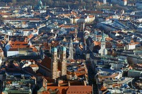 Germany, Upper Bavaria, Munich, city center, detail, top view, series, Bavaria, city, city-overview, residential-area, houses, residences, city-middle...
