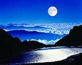 Nepal, Himalaya, Gosainkund, Laurebinapass, Karsee, twilight, full moon, Asia, mountain scenery, mountains, silhouette, mountain-chain, cloud-mood, la...