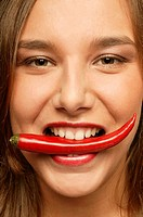 Woman, young, mouth, chilis, red, portrait, broached, series, people, woman-portrait, vegetables, chili, teeth, eating, symbol, keenly, hot, taste, sh...