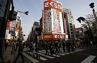 Group of people crossing the road, Tokyo, Japan