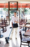 Waitress Getting Ready to Mop