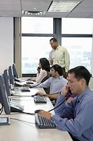 Customer service representatives in call center
