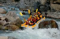 Rafting, on, river, near, Chateau, Queyras, Hautes-Alpes, France