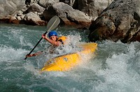 Whitewater, kayaking, on, river, near, Chateau, Queyras, Hautes-Alpes, France