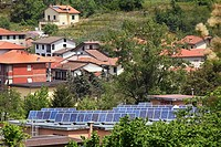Solar panels for generating electricity on factory roof - Ricco del Golfo, Liguria, Solar voltaic, silicon cells, alternative energy, clean energy, so...