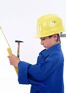 little boy as building worker