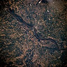Featured in this northeast_looking, low_oblique photograph is the portion of the Mississippi River between Canton and Hannibal, Missouri. Visible are ...