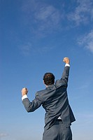 Rear view of a businessman with his arms raised