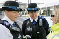 UK, England, Lancashire, Liverpool, Queen Square, female Merseyside Police, community support, traffic officer,