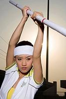 a female pole vault jumper