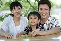 Portrait of parents with son smiling