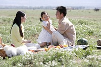 Young couple with child at picnic