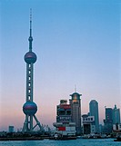 the Dongfangmingzhu TV Transmission Tower in Shanghai city