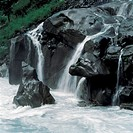 Waterfall on black rocks, Sichuang
