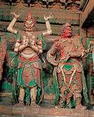 painted clay sculptures of Chinese Gods in the Temple of Dahui,Beijing