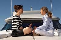 Women sitting on boat