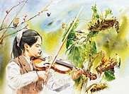 watercolor painting, a girl playing violin by Ryu Jin chul