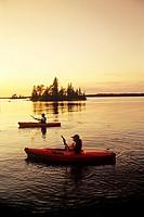 Kayaking on Dorothy Lake, Whiteshell Provincial Park, Manitoba, Canada.