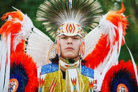 Blackfoot blood male dancer first nations plains indian in traditional mens fancy dance outfit, Fort McLeod, Lethbridge, Alberta, Canada.