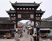 South Gate Large town, Jiangsu, China, city view, people, store, April