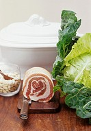 Soup tureen, dried beans, pork and cabbage