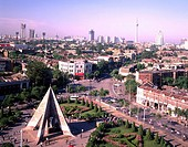 Tianjin street, Kangzhen monument, Tianjin, HebeiSheng, China, city view, architecture, building, tower, people, May