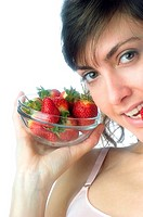 Woman, Brown Hair, Beauty, White undershit, Eating, Fruit, Strawberry