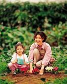 Mother And Daughter Gardening,Korean
