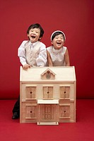 Girl and Boy Dressed as Bride and Groom, Korea