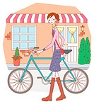 Woman Who Pushes her Bicycle, Illustrative, Technique