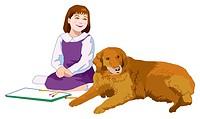 Girl and Dog, Illustrative, Technique