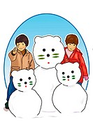 Portrait of a girl and a boy with three cat_shaped snowmen, front view, white background, cut out