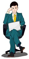 Business man sitting and using laptop computer, Illustration