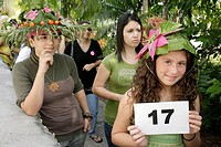 Florida, Coral Gables, Fairchild Tropical Botanic Garden, Ramble Festival, Green Fashion Show Plant and Paper Hat Challenge, student, female, Hispanic...