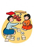Mother and Child Packing Hina Dolls, Illustrative Technique