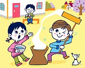 Children pounding rice cake, Painting, Illustration, Illustrative Technique, Front View, Side View