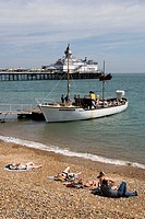 Eastbourne, pier, beach, English Channel, East Sussex, UK