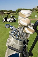 Golf clubs in a golf bag