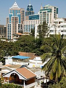 Changing skyline with newer buildings in the cantonment area of Bangalore, India